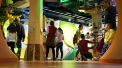 Cognitive museum for children - kids view and play with exhibition playground - stock footage