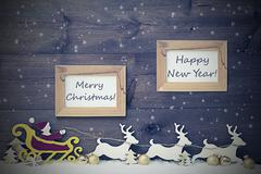 Vintage Santa Claus Sled, Merry Christmas And Happy New Year Stock Photos