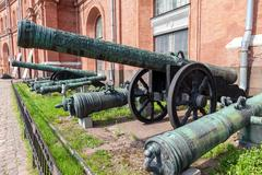 Ancient bronze cannons in Museum of Artillery  in St. Petersburg, Russia - stock photo
