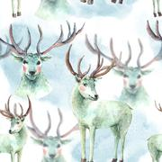 Watercolor Christmas seamless pattern with Snow white deer - stock illustration