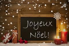 Card, Blackboard, Snowflakes, Joyeux Noel Mean Merry Christmas - stock photo
