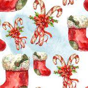 Watercolor seamless pattern with Christmas socks, ribbon, candy Stock Illustration