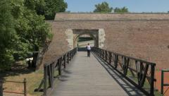 Belgrade fortress Karageorge's Gate pan 4K.mp4 Stock Footage