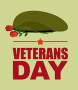 Soldiers green beret and flowers. Veterans Day. Vector illustration of patrio Stock Illustration
