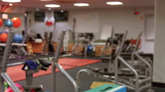 Weights room in gym Stock Footage