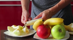 Useful fruit. Dietary breakfast. - stock footage