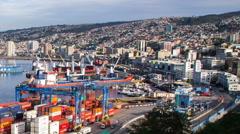 Port of Valparaiso Timelapse Stock Footage