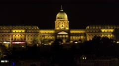 Buda Castle. Royal Palace in Budapest. Night. 4K. Stock Footage