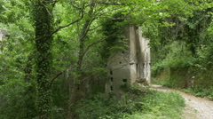 Abandoned factory on valley path. Amalfi Coast, Italy. Stock Footage