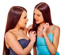 Sexy happy lesbian women hugging in erotic foreplay game Stock Photos