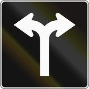 Left And Right Turn Lane In Canada - stock illustration