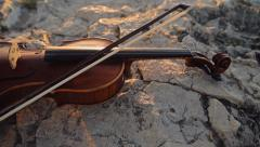 Violin On The Rock Stock Footage