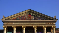 Mosaic icon on the facade of the building in Budapest. 4K. Stock Footage