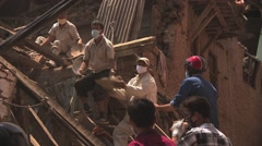 Rescue workers at Bhaktapur Nepal after the earthquake Stock Footage