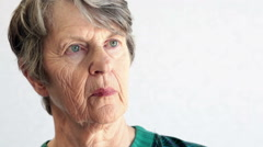Elderly women deep in thought, looking away from camera Stock Footage