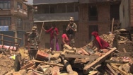 Stock Video Footage of rescue workers at Bhaktapur Nepal after the earthquake