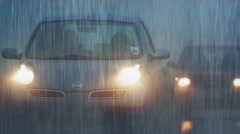 Cars In Mist And Rain Stock Footage