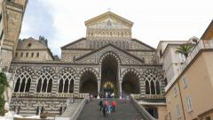 Amalfi Cathedral. People walking up and down the steps. Amalfi, Italy. Stock Footage