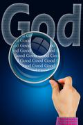 The name GOD under observation with magnifying glass - God is Good - stock illustration