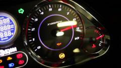Motorcycle tachometer gauge starting Stock Footage