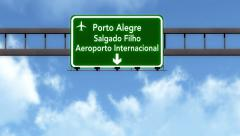 4K Passing Porto Alegre Brazil Airport Highway Sign with Matte 8 stylized Stock Footage