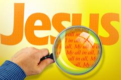 The name JESUS under observation with magnifying glass - stock illustration