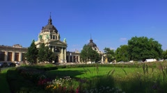 The Bath Szechenyi in Budapest. 4K. Stock Footage