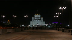 Cathedral of Christ the Savior by night lights Stock Footage
