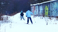 Skiers Training Skiing in Winter Park, 4K Ultra HD Stock Footage