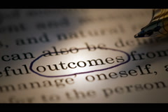 """outcome"" circled on piece of paper. - stock footage"