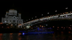 Cathedral of Christ the Savior and bridge at night UHD - stock footage