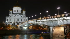 Cathedral of Christ the Savior and bridge at night Stock Footage