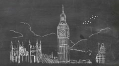 London - Hand-drawn - Chalkboard 01 Stock Footage