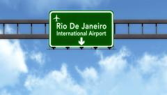 4K Passing Rio De Janeiro Brazil Airport Highway Sign with Matte 6 stylized Stock Footage