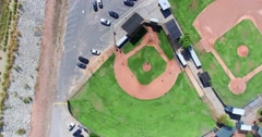 4K, Aerial view of Baseball diamond with green grass Stock Footage