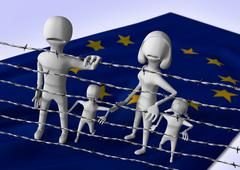 Migration to europe concept - crisis in european union Stock Illustration