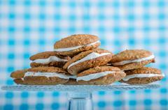 Homemade Oatmeal Cream Pie Cookies Stock Photos