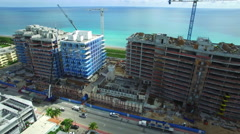 Shore Club and the Four Seasons aerial video Stock Footage