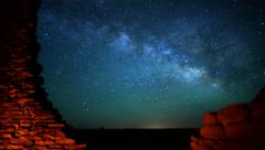 4K Wupatki Milky Way 05 TIlt Up Time Lapse Stars and Indian Ruins Stock Footage