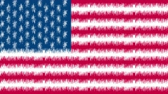 4k United states of America flag waving seamless loop corrupted digital noise - stock footage
