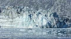 Slow motion of tidewater Johns Hopkins glacier calving in Glacier Bay National - stock footage