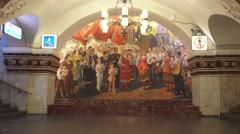 A Ukraine fresco (in 4k), Kievskaya metro station, Moscow Metro, Russia. Stock Footage