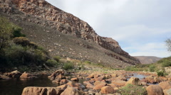 Tracking dolly shot of a mountain stream in Cederberg, South Africa Stock Footage
