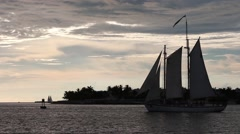 A classic sailboat during the Key West sunset - stock footage