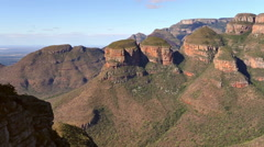 Rock formation (Three Rondavels) in South Africa Stock Footage
