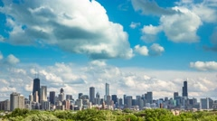 Chicago Skyline Time lapse with blue sky - stock footage