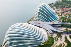 SINGAPORE - 07 AUG 2015: Enormous Domes of Gardens by the Bay in Singapore, t Stock Photos