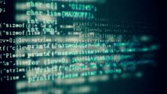 Programming code running over computer screen terminal. More in my porftolio Stock Footage
