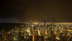 Chicago Night time lapse with thunderstorms Stock Footage