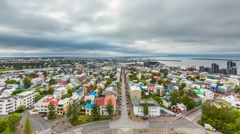 Reykjavik Downtown high angle Time Lapse Stock Footage